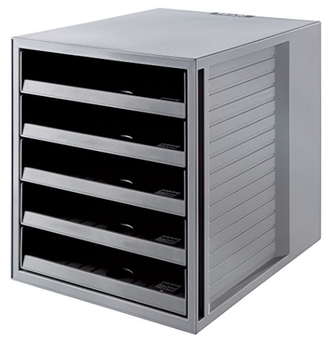HAN Schubladenbox KARMA 14018-18 in Öko-Grau – Ordnungsbox DIN A4 – Aufbewahrungsbox mit Schubladen aus nachhaltigem Kunststoff