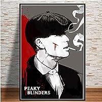 シーズンテレビシリーズアートキャンバスプリントポスター、ピーキーモダンファミリーベッドルームインテリアポスター、キャンバスアートポスター、リビングルーム用ウォールアート写真フレームなし-A_60X80Cm