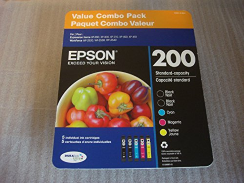 Genuine Epson 200 DURABrite Ultra Color (Black/Cyan/Magenta/Yellow) Ink 5-Pack (Includes 2 T200120 and 1 each of T200220, T20032