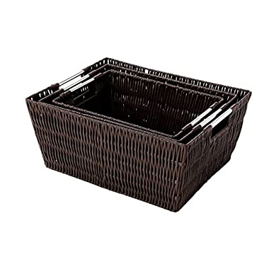Storage Baskets - 3-Piece Nesting Baskets, Brown Wicker Storage Containers - Storage Bins Set – Decorative Organizing Baskets for Shelves, Kitchen, Bathroom, and Bedroom – Small, Medium, Large