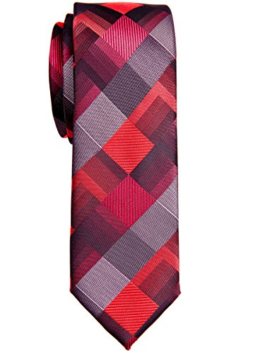 Corbata estrecha con patrón geométrico estilo vintage, de Retreez. Tela de microfibra. 5 cm de ancho de pala Rojo rosso Talla única