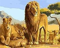 番号によるDIYペイント大人の絵画フィギュア番号によるライオンの子供の頭飾り装飾飾りギフト