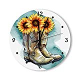 Round Wall Clock Watercolor Sunflower Cowgirl Boots Clock Battery Operated Wall Clocks Wooden Home Decor for Home Living Room Bedroom Decoration 12 &15 inch Clock