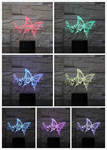 Butterfly Flower Pattern Couple Love Desk Lamp Bedside USB Animal Lamp Child Kids Gift Visual Led Night Light Decoration