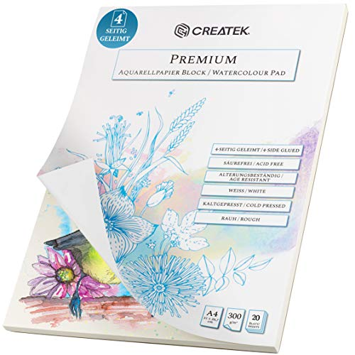 CreaTek Aquarellpapier A4   20 Blatt   300g   4-seitig geleimt, endlich Keine welligen Bilder mehr + Gratis Illustrationen zum abpausen - hochwertiger Aquarellblock A4 für Anfänger Watercolor Paper