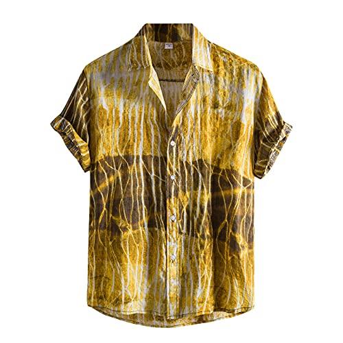 KANGYONG Camisa hawaiana informal para hombre, con estampado floral, manga corta, cuello vuelto, botones ajustados, cuello en V C_amarillo. M