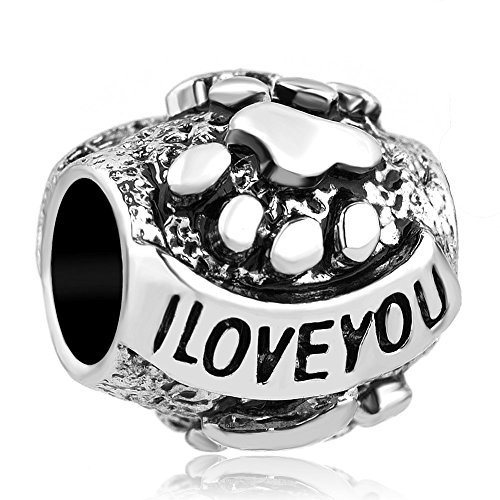 Q & camafeo I Love You Bead Europea de huellas de perro para pulsera