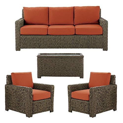 Hampton Bay Laguna Point 4-Piece Brown All-Weather Resin Wicker Patio Deep Seating Set with Quarry Red Cushion
