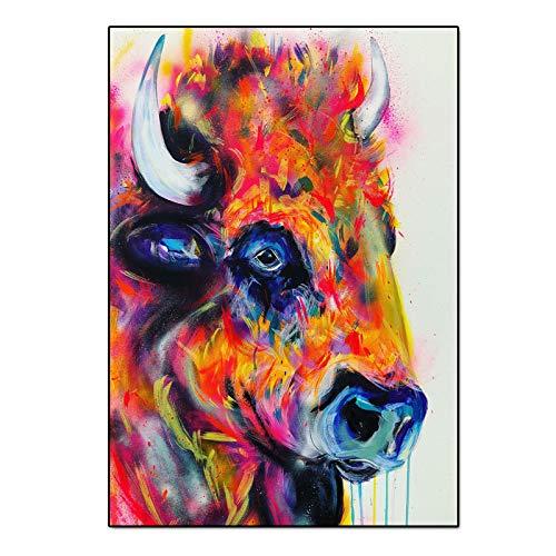 Geiqianjiumai Kunst Hochland Vieh Tier Leinwand Bilddruck Wandbild Wohnzimmer Kunst Moderne Dekoration rahmenlose Malerei 60x80cm