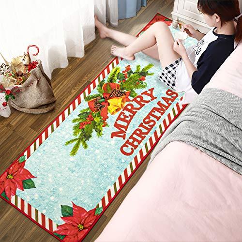 Foxmas Christmas Area Rug for Bedroom, Non-Slip Carpet Christmas Eve Entrance Runner Rug Doormats for Living Room Kitchen Festival Home Decor Gift for Xmas Holiday, 2ft x 6ft