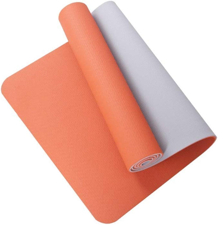 QQW Gepolsterte übungs-Yoga-Matte mit Tragegriffen - Hochdichte, Dicke NBR-Matten for Gymnastik Pilates Exercise Fitness (Farbe   Orange)