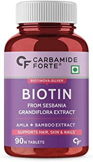 Carbamide Forte Biotin with Amla, Brahmi & Bamboo Extract Tablets for Women & Men – 90 Veg Tablets
