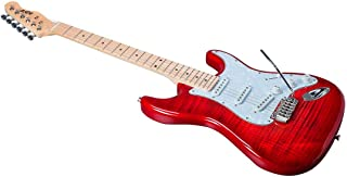 Monoprice Indio Cali DLX Flamed Maple Top Electric Guitar - Trans Red, With Gig Bag