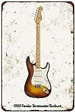 Cheyan Letrero de metal vintage para guitarra 1959 Fender Stratocaster Sunburst 8 x 12 pulgadas