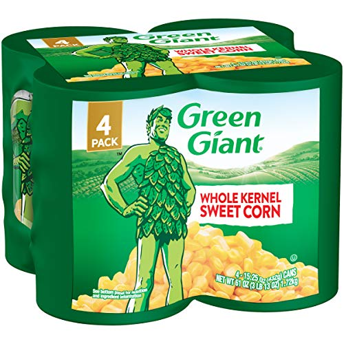 Green Giant Whole Kernel Sweet Corn, 4 Pack of 15.25 Ounce Cans
