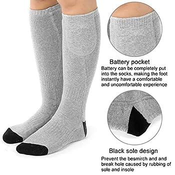Chaussettes chauffantes électriques - Hommes Femmes Chaussettes chauffantes à batterie rechargeable pour temps froid - Chaussettes d'hiver chauffantes en coton thermique pour pieds froids chroniques p