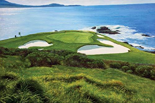 Pebble Beach Golf Links Club Hole 7 golf course oil painting art print 2550 11x14-36x48