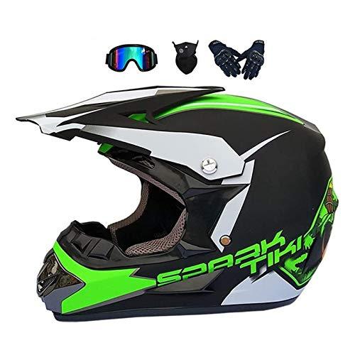 YXLM Motorradhelm für Kinder, Motocross-Helm für Kinder, für BMX MTB Quad Enduro ATV Scooter, mit Brillen, Handschuhen, Masken (D,M)