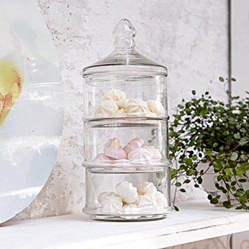 Loberon Glasdose 3-stöckig Newport, Glas, H/Ø 29/10,5 cm, klar