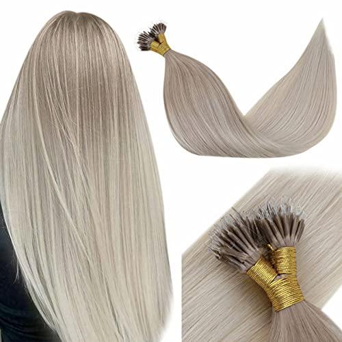 LaaVoo Blonde Nano Beads Hair Extensions Silky Real Human Hair Extensions Nano Rings Balayage Ash Blonde Fading to Platinum Blonde Nano Tip Human Hair Extensions 14 Inch 50g/50strands