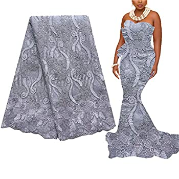 WorthSJLH Nigerian Lace Material Fabric Grey Net Lace Fabric 2019 New Latest African Lace Fabric for Wedding Dress LF854 Grey