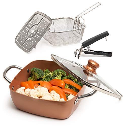 满足您的厨房需求! 5件套大厨炊具组,不粘锅,深方形平底锅,油炸篮,蒸笼,洗碗机和烤箱可用,5 夸脱
