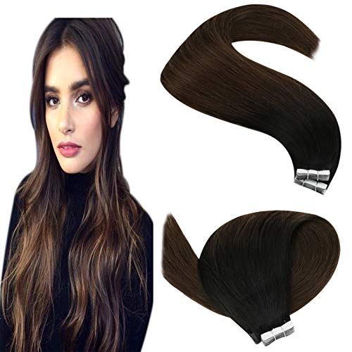 YoungSee Extension Adhesive Cheveux Naturel Noir a Brun Ombre Extension Bande Adhesive Cheveux Naturels Remy Human Hair 20pcs/50g 22 Pouce