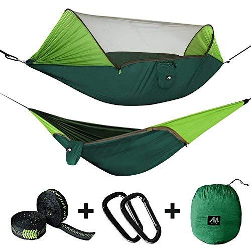 Amaca da campeggio doppia con zanzariera, tenda parasole per 1/2 persone, 300x145cm, in nylon da paracadute pop-up da viaggio, portatile, per esterni, campeggio, escursionismo, escursioni, giardino