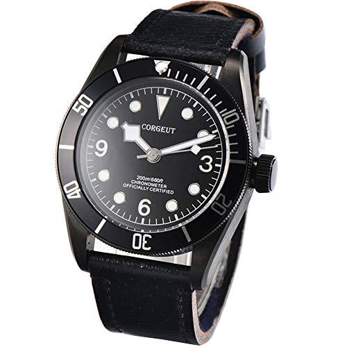 41mm Corgeut movimento automatico orologio da uomo zaffiro Quadrante nero