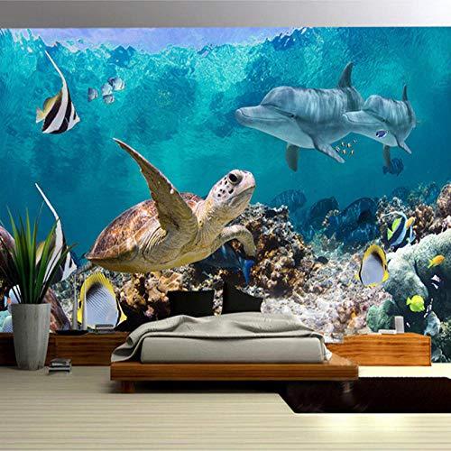 HJLXDP mural pared Vinilo autoadhesivo Mundo marino corales tortugas peces de mar Decoración de arte de pared Pelar y pegar Adhesivo de pared Arte Murales Decoración para el hogar Decoración de guard