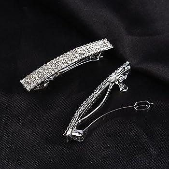 FUMUD Bling Silver Plated Crystal Hairpin Three Row Rhinestone Hair Barrette Clip Hair Accessories