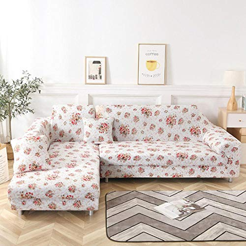 LLAAIT Fundas de sofá en Forma de L de 4/3/2/1 plazas, Chaise Longue seccional para Sala de Estar, reposabrazos de Licra, Fundas para sofá de Esquina, elásticas