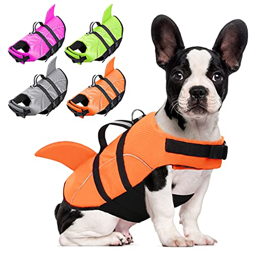 AOFITEE Dog Life Jackets Ripstop Pet Life Vest, Reflective Dog Float Coat, Safety Lifesaver Life Preserver with Shark Fin & Rescue Handle for Small Medium Large Dogs (Orange L)