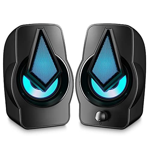 Altavoces PC, 10W Altavoz 2.0 USB Gaming Sobremesa, Parpadeo Rítmico, Sonido Estéreo,...