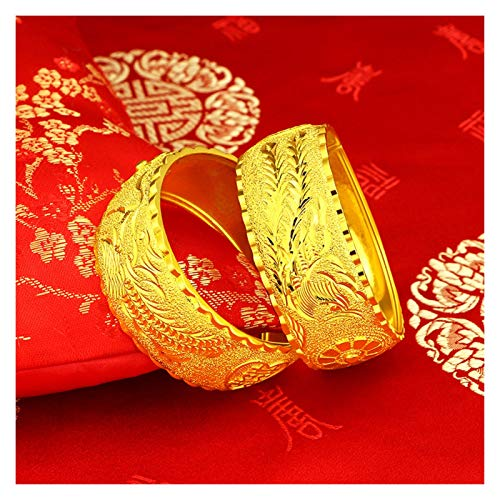 Without logo SFQRYP New gold wedding set bride wedding jewelry jewelry set Phoenix flower set of copper plated 24K gold dragon bracelet (Color : A)