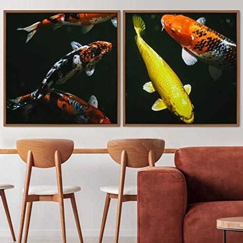 "bestdeal depot Koi 2 Panels Framed Canvas Wall Art Prints for Living Room,Bedroom Framed Artwork Decoration Ready to Hang - 24""x24""x2 Panels"