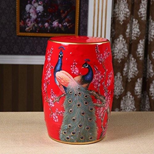 XBD Pintado a Mano de Flores y pájaros Chinos Taburetes de cerámica Tambor heces Vestir-Bancos montón Redondo heces (32x45cm) Home (Color : Red)