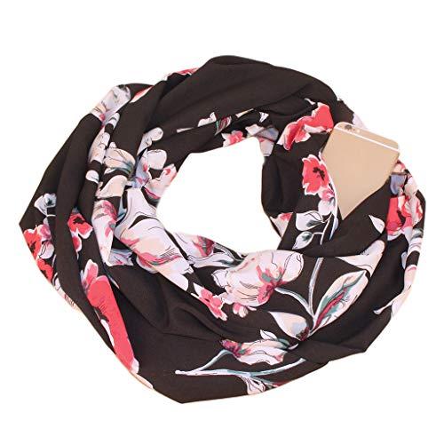 luosh Damessjaal voor de winter, warm en zacht, boho-sjaal, retrostijl, polyester, bloemenpatroon, oneindigheidskraag, sjaal met zak met ritssluiting.