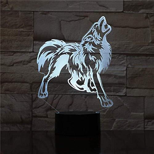Animal lobo decoración 3D LED luz de noche colorido lobo diseño lámpara de mesa tono lobo ilusión luces dormitorio decoración moderna 1750