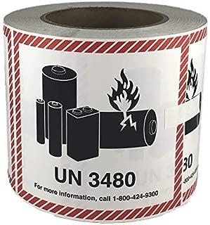 UN 3480 CHEMTREC Caution Lithium Battery Labels 4.5 x 4.75 inches 500 Labels