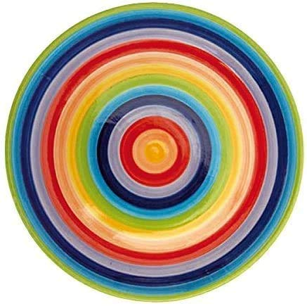 Windhorse Rainbow Striped Ceramic Dinner Plate (Large) 26 cm (1 Plate)