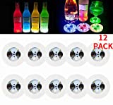 LED Coaster,12 Pack Light Up Coasters,LED Bottle Lights,Bottle Glorifier,LED Sticker Coaster Discs for Wine Bottle Clear Glass Cup Vase Color Changing Lights -Party,Wedding,Bar,Party Decoration