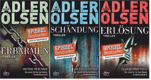 Jussi Adler Olsen Der erste, zweite und dritte Fall für Carl Morck Sonderdezernat Q - Erbarmen: Die Frau im Bunker + Schändung: Die Fasanentöter + Erlösung: Flaschenpost von P