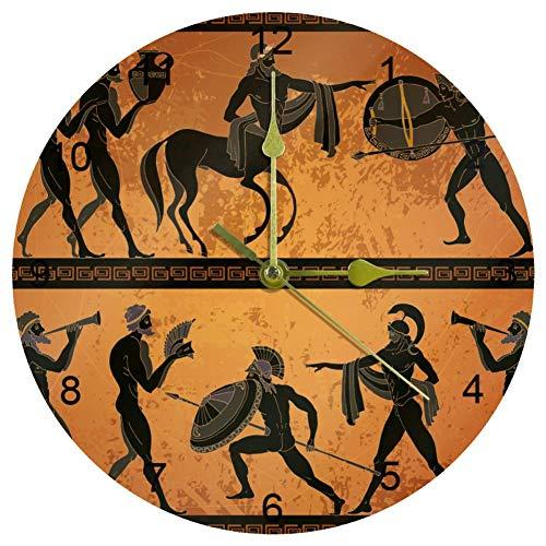 Ezioly Wanduhr, antike Griechenland-Szene, schwarze Figur, Keramik, 25,4 cm, leise, nicht tickend, Quarz, batteriebetrieben, runde Wanduhren für Zuhause/Büro/Schule, Uhr