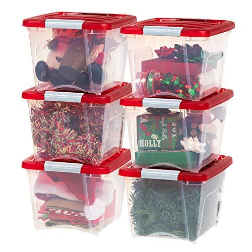 IRIS USA TB-17 Holiday Storage Box, 19 Qt, Clear/Red, 6 Pack