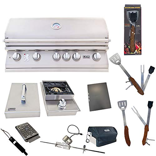 Lion Premium Grills 40-Inch Liquid Propane Grill L90000 with Single Side Burner and 5 in 1 BBQ Tool Set Best of Backyard Gourmet Package Deal Grills Propane