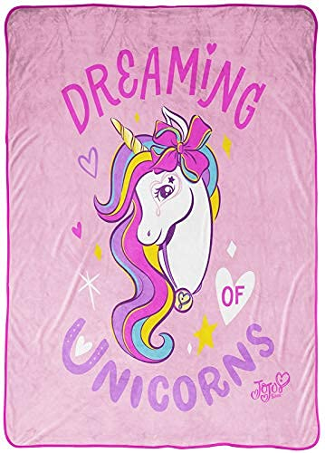 Nickelodeon JoJo Siwa Dreaming Unicorn Blanket - Measures 62 x 90 inches, Kids Bedding - Fade Resistant Super Soft Fleece (Official Nickelodeon Product)