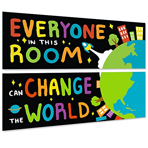 """2 Pcs Classroom Motivational Poster Decorations with Glue Points Back to School Supplies Positive Banner Inspirational Bulletin Board Wall Decor for Pre School, Elementary 13.5"""" x 39"""""""
