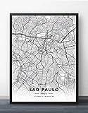 Leinwand Bilder,Sao Paulo Brasilien Stadtplan Drucke Poster