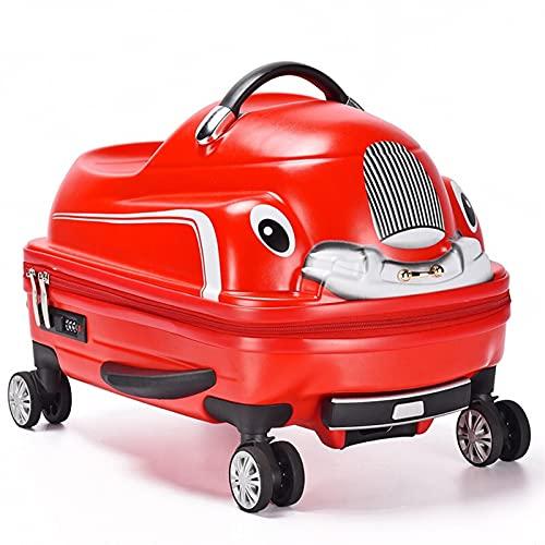 SHJKL Valigia dei Bambini Carini Auto, Bagagli di Viaggio del Fumetto, Boy E Ragazza Carrello Leggera della Guscio Leggera Piccola Valigia con 4 Ruote,Rosso